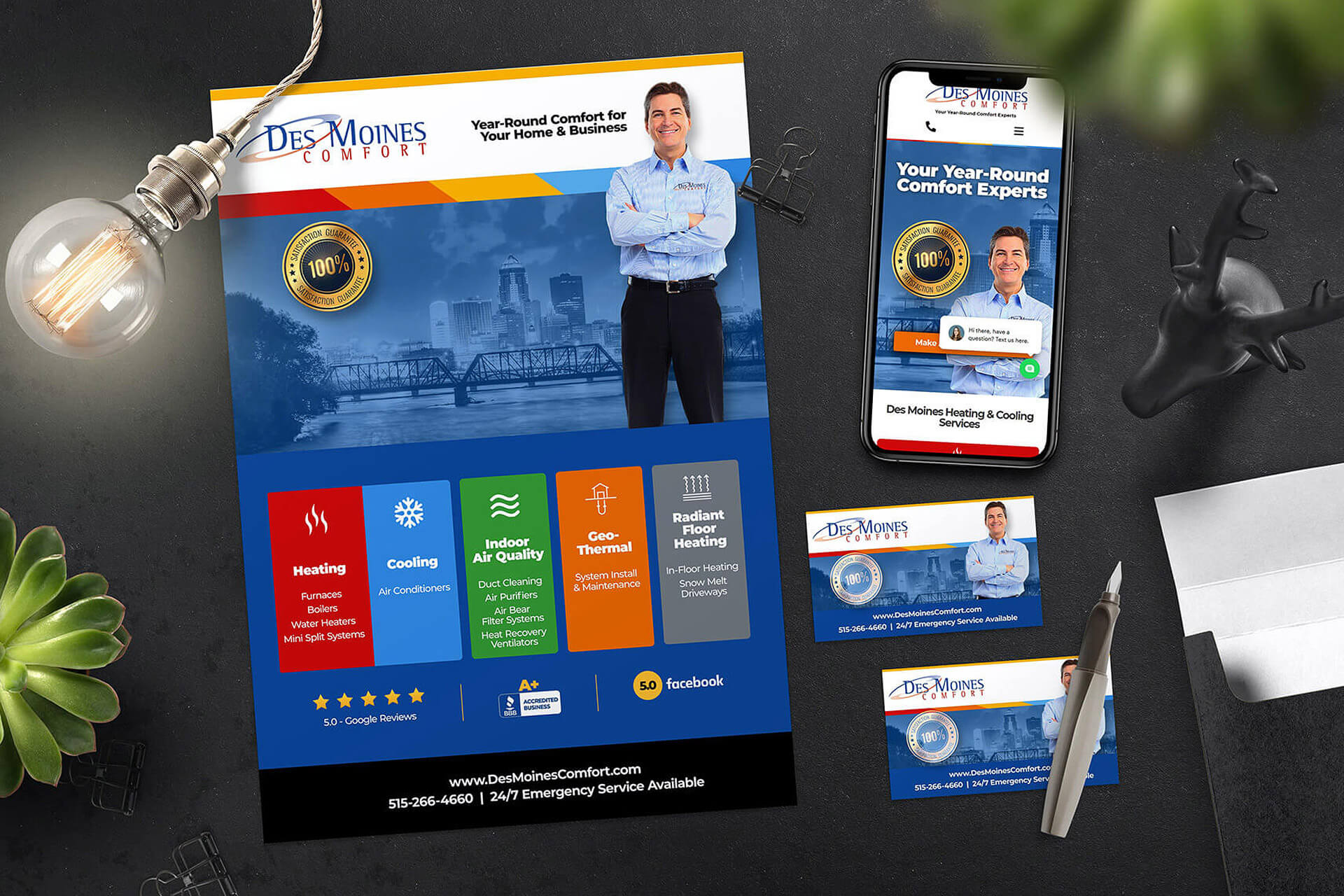 Graphic Design & Website Design for Des Moines Comfort Heating and Cooling