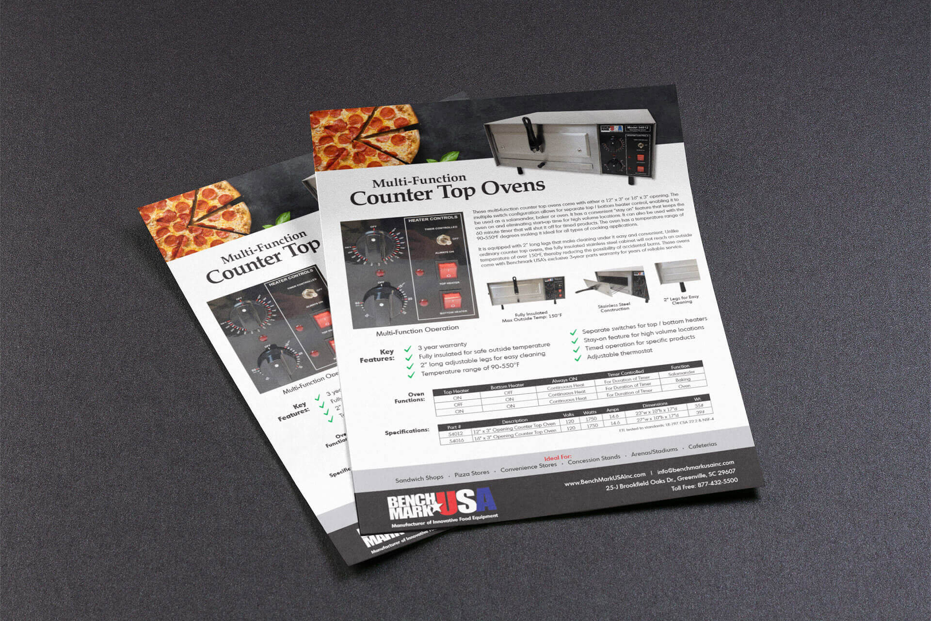 Graphic Design - Flyer for Benchmark USA's Pizza Oven