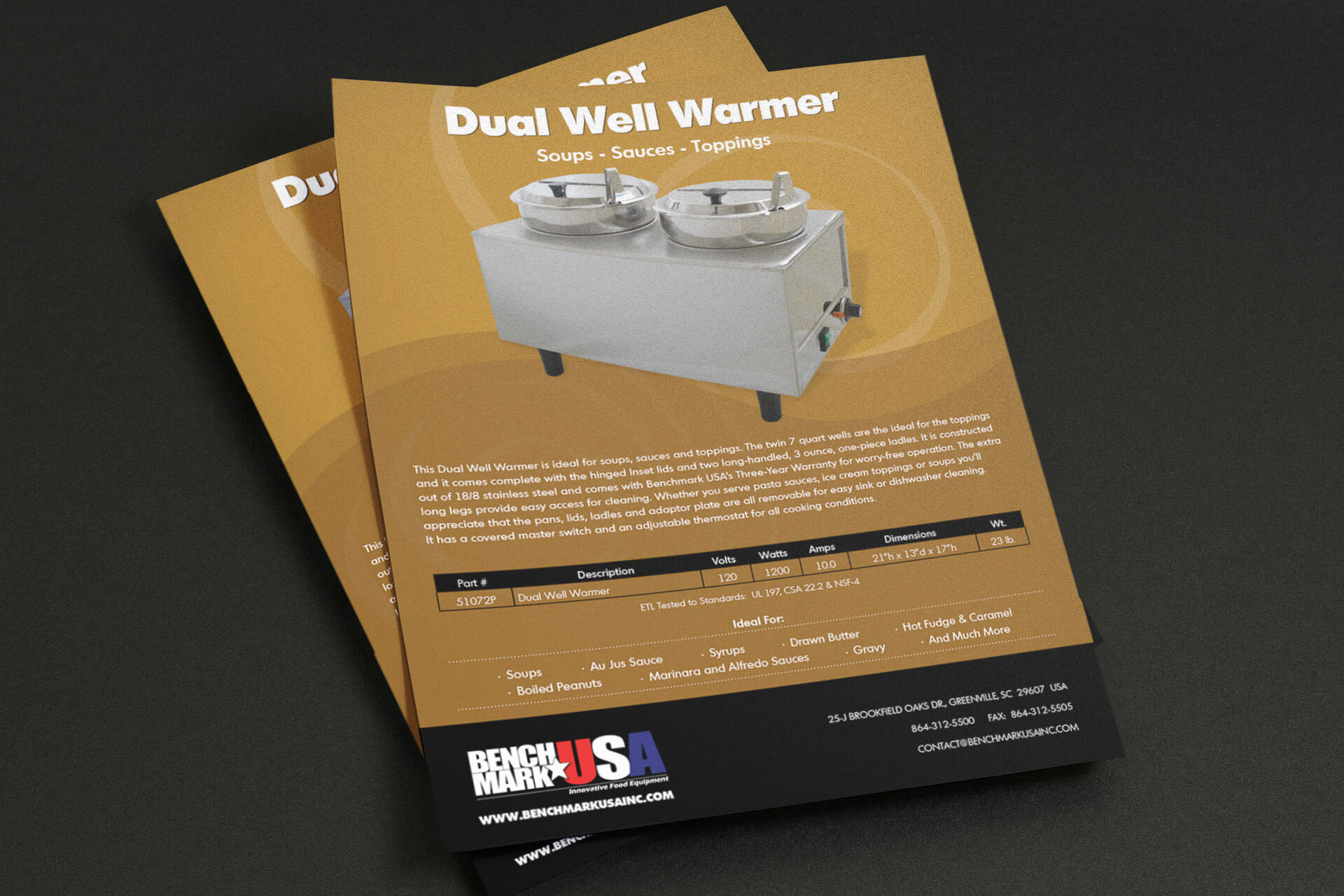 Graphic Design - Flyer for Benchmark USA's Dual Well Warmer